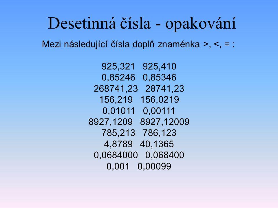 Desetinná čísla - opakování Mezi následující čísla doplň znaménka >, <, = : 925,321 925,410 0,85246 0,85346 268741,23 28741,23 156,219 156,0219 0,01011 0,00111 8927,1209 8927,12009 785,213 786,123 4,8789 40,1365 0,0684000 0,068400 0,001 0,00099