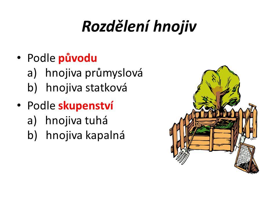 Hnojiva statková hnojiva, která jsou produkována v zemědělské výrobě: - chlévský hnůj - kejda - komposty - zelené hnojení - sláma na hnojení Obr č.1