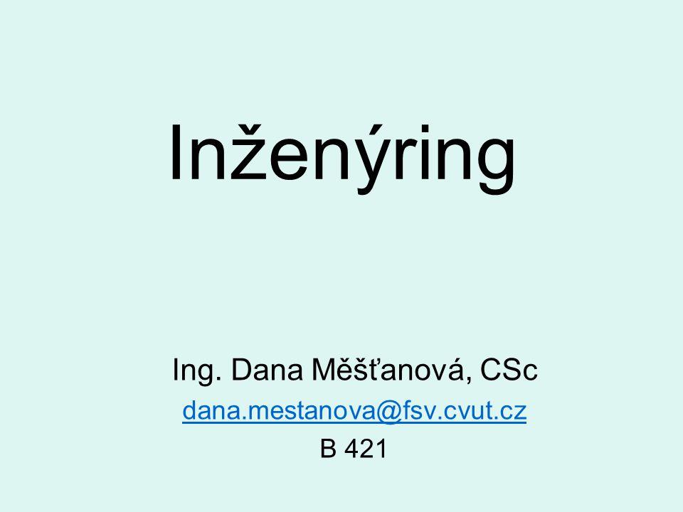 Inženýring Ing. Dana Měšťanová, CSc dana.mestanova@fsv.cvut.cz B 421