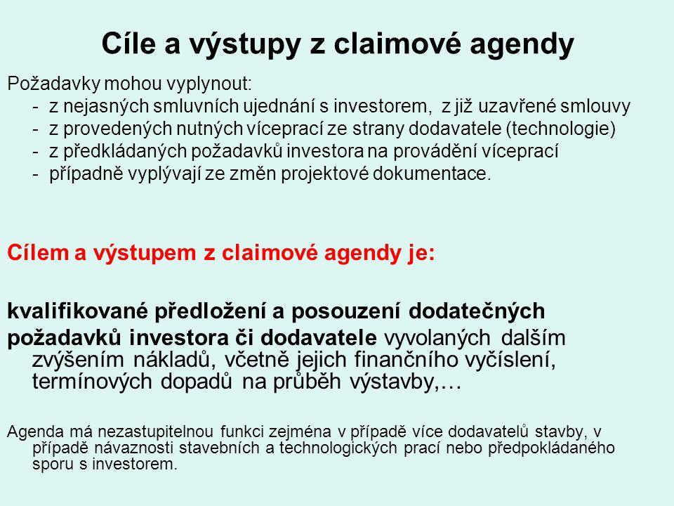 Cíle a výstupy z claimové agendy Požadavky mohou vyplynout: - z nejasných smluvních ujednání s investorem, z již uzavřené smlouvy - z provedených nutn