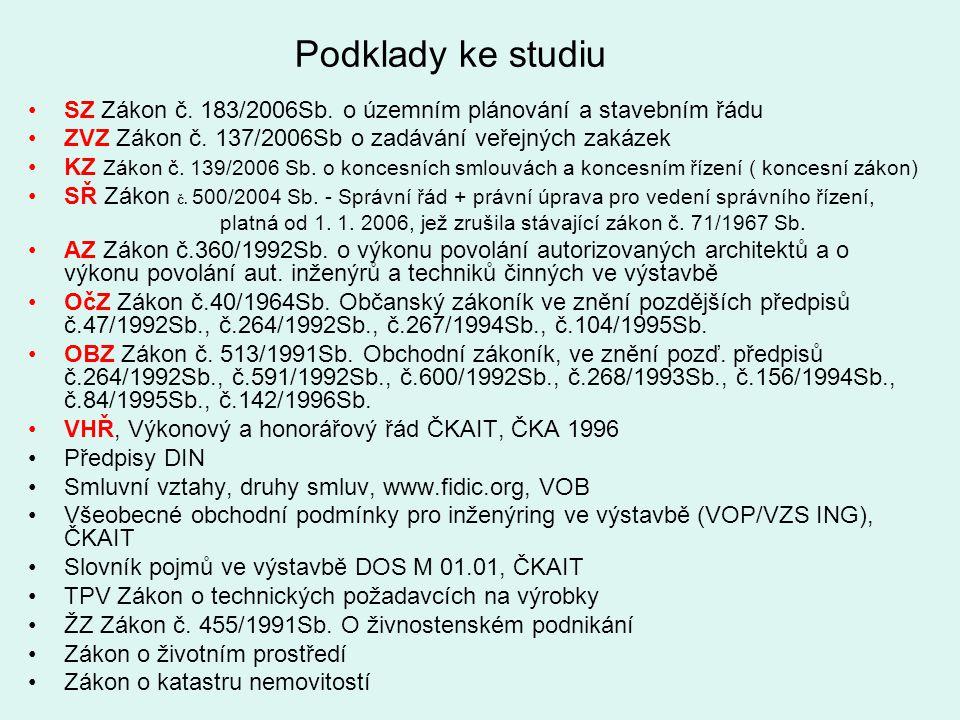 Podklady ke studiu SZ Zákon č. 183/2006Sb. o územním plánování a stavebním řádu ZVZ Zákon č. 137/2006Sb o zadávání veřejných zakázek KZ Zákon č. 139/2