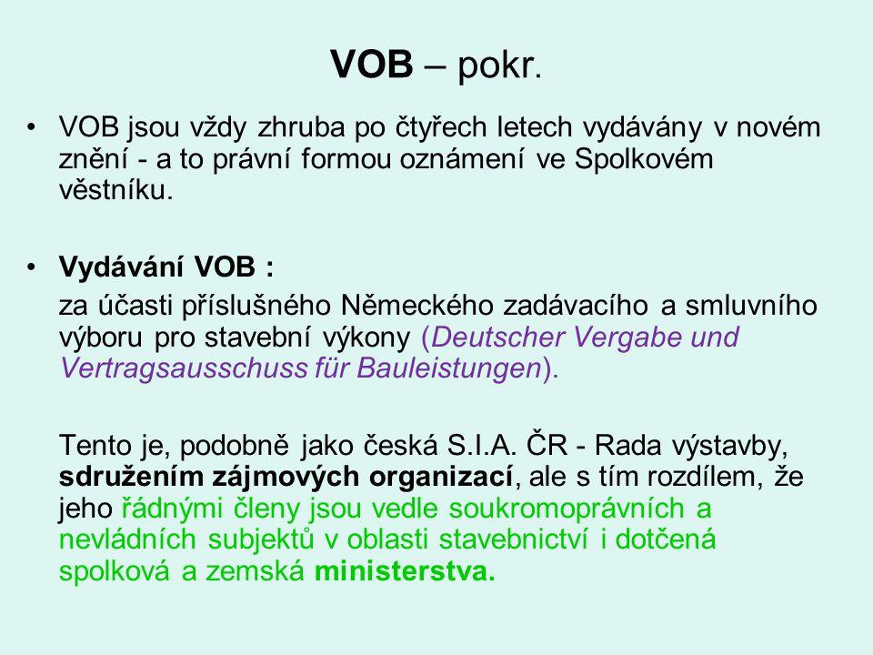 VOB – pokr. VOB jsou vždy zhruba po čtyřech letech vydávány v novém znění - a to právní formou oznámení ve Spolkovém věstníku. Vydávání VOB : za účast