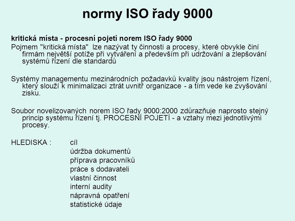 normy ISO řady 9000 kritická místa - procesní pojetí norem ISO řady 9000 Pojmem