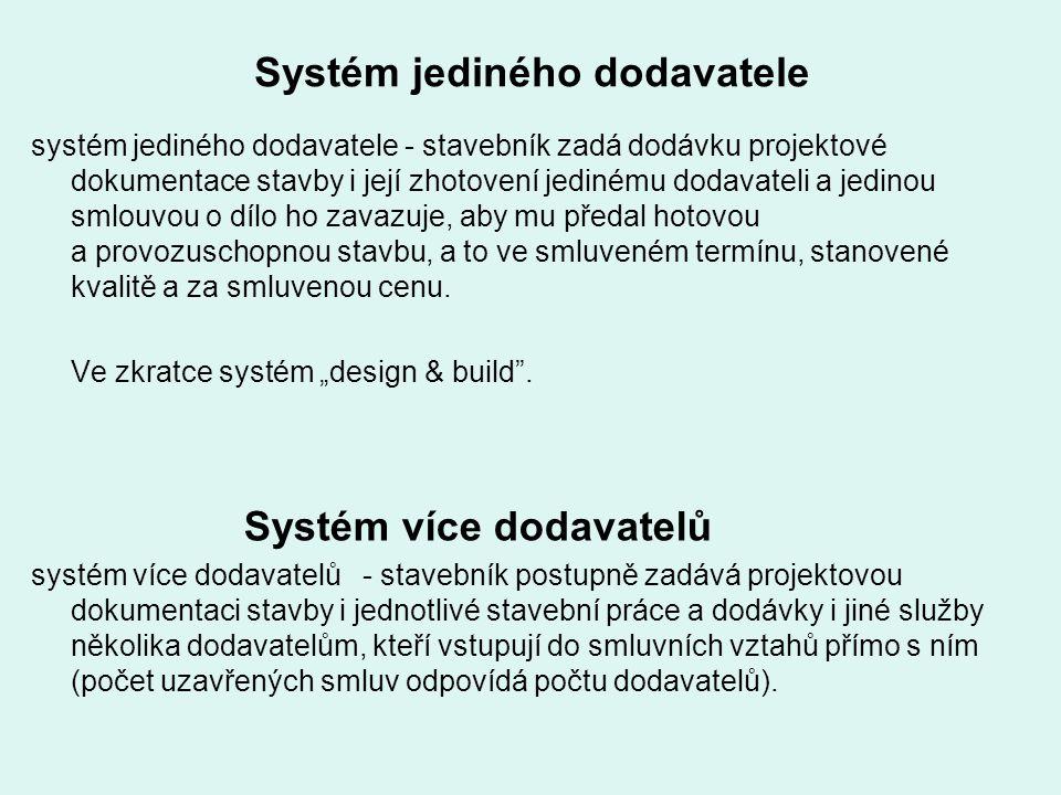 Systém jediného dodavatele systém jediného dodavatele - stavebník zadá dodávku projektové dokumentace stavby i její zhotovení jedinému dodavateli a je