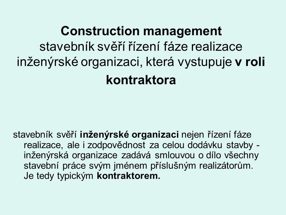 Construction management stavebník svěří řízení fáze realizace inženýrské organizaci, která vystupuje v roli kontraktora stavebník svěří inženýrské org