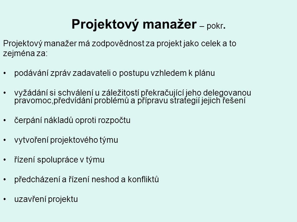 Projektový manažer – pokr. Projektový manažer má zodpovědnost za projekt jako celek a to zejména za: podávání zpráv zadavateli o postupu vzhledem k pl