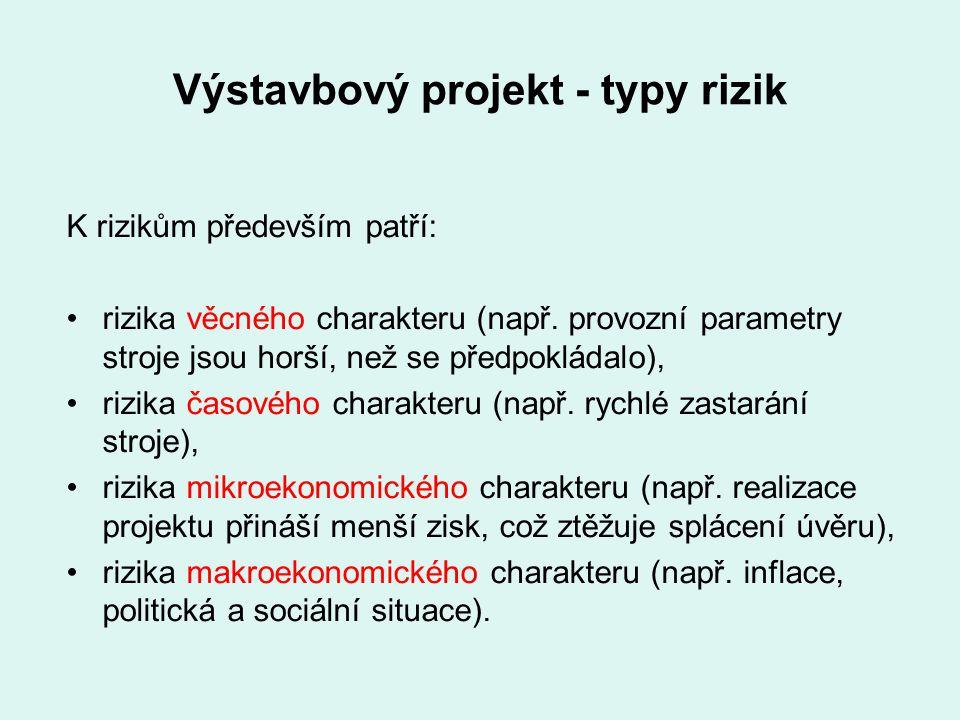 Výstavbový projekt - typy rizik K rizikům především patří: rizika věcného charakteru (např. provozní parametry stroje jsou horší, než se předpokládalo
