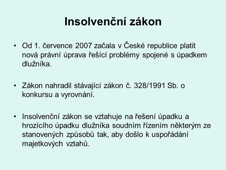 Insolvenční zákon Od 1. července 2007 začala v České republice platit nová právní úprava řešící problémy spojené s úpadkem dlužníka. Zákon nahradil st