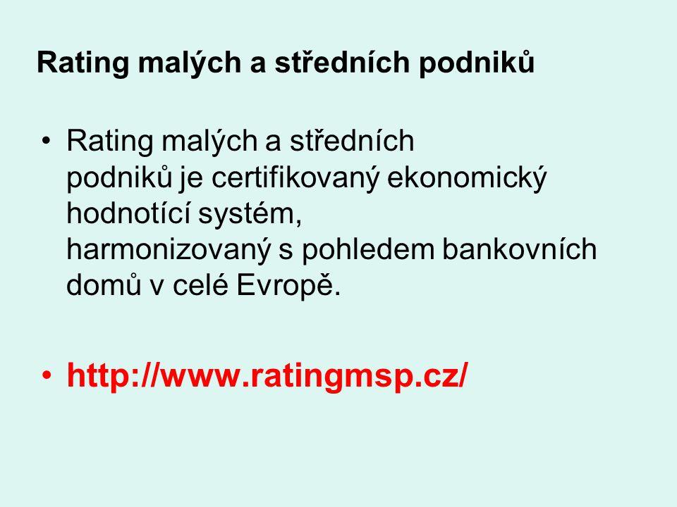 Rating malých a středních podniků Rating malých a středních podniků je certifikovaný ekonomický hodnotící systém, harmonizovaný s pohledem bankovních