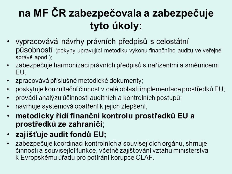 na MF ČR zabezpečovala a zabezpečuje tyto úkoly: vypracovává návrhy právních předpisů s celostátní působností (pokyny upravující metodiku výkonu finan