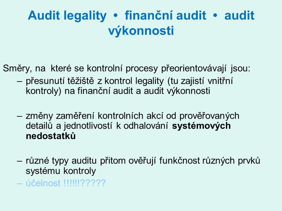 Audit legality finanční audit audit výkonnosti Směry, na které se kontrolní procesy přeorientovávají jsou: –přesunutí těžiště z kontrol legality (tu z