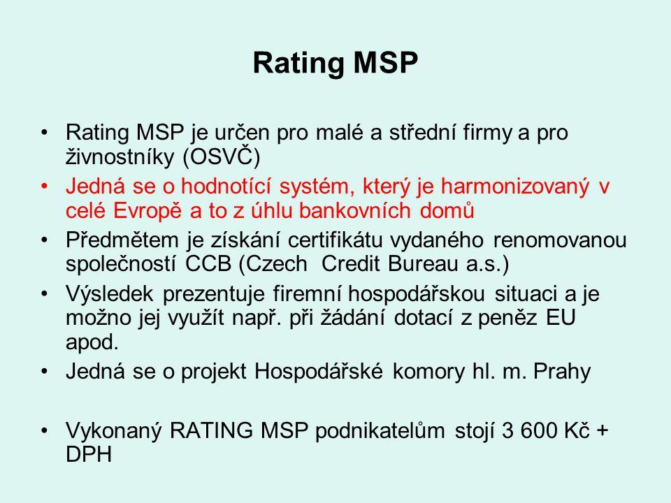 Rating MSP Rating MSP je určen pro malé a střední firmy a pro živnostníky (OSVČ) Jedná se o hodnotící systém, který je harmonizovaný v celé Evropě a t