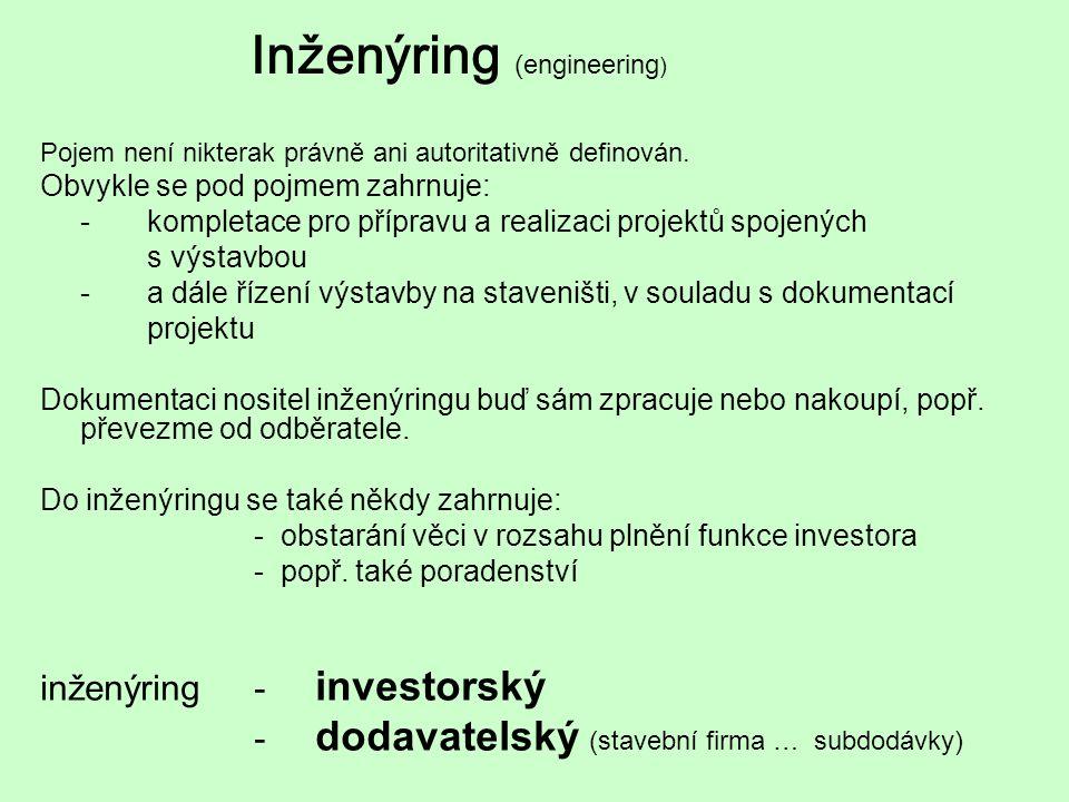 Inženýring ( engineering ) Pojem není nikterak právně ani autoritativně definován. Obvykle se pod pojmem zahrnuje: -kompletace pro přípravu a realizac