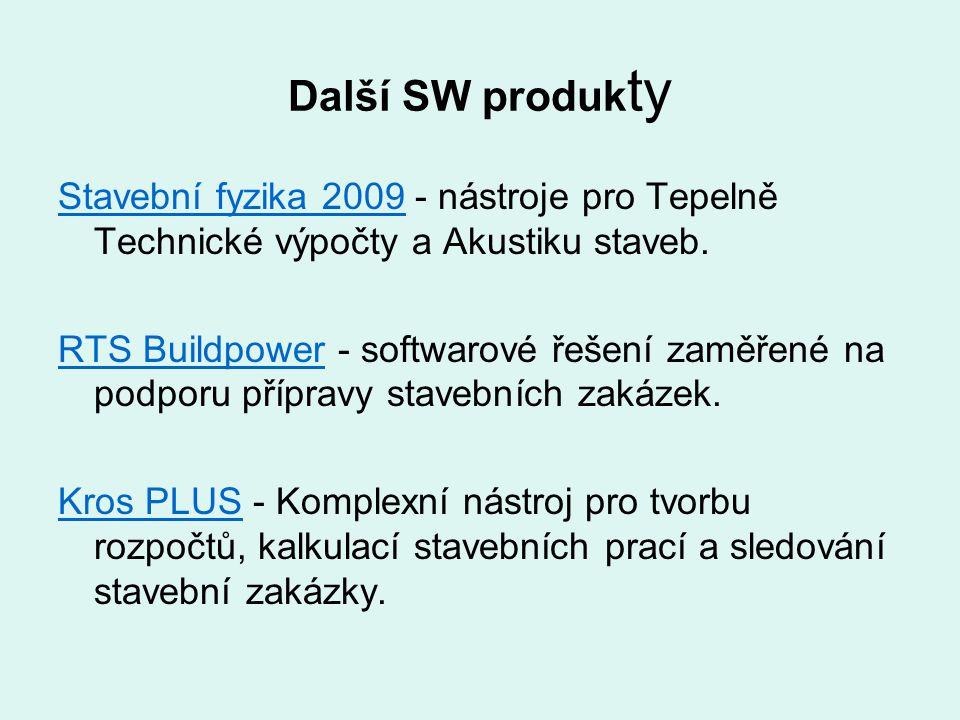 Další SW produk ty Stavební fyzika 2009Stavební fyzika 2009 - nástroje pro Tepelně Technické výpočty a Akustiku staveb. RTS BuildpowerRTS Buildpower -