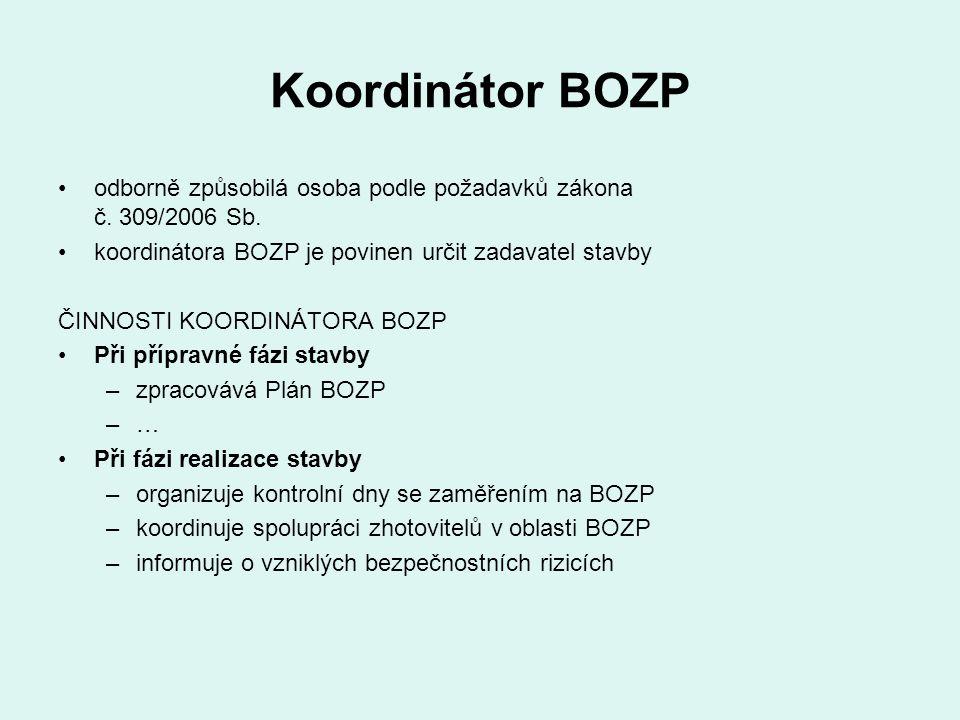 Koordinátor BOZP odborně způsobilá osoba podle požadavků zákona č. 309/2006 Sb. koordinátora BOZP je povinen určit zadavatel stavby ČINNOSTI KOORDINÁT