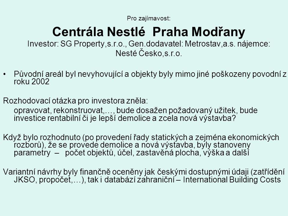 Pro zajímavost: Centrála Nestlé Praha Modřany Investor: SG Property,s.r.o., Gen.dodavatel: Metrostav,a.s. nájemce: Nesté Česko,s.r.o. Původní areál by