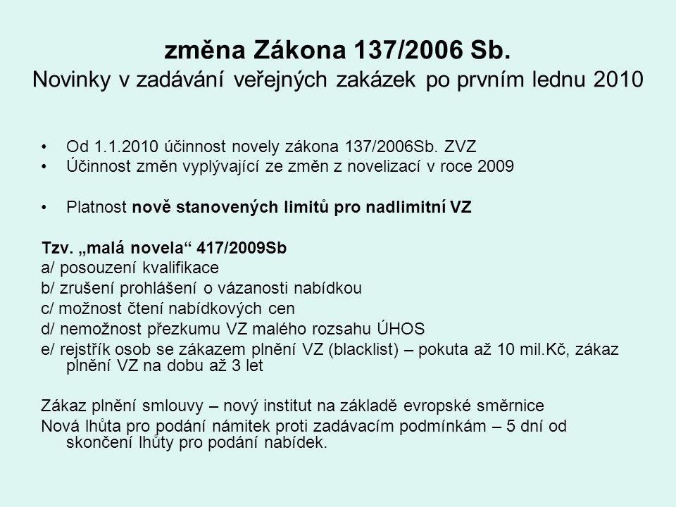 změna Zákona 137/2006 Sb. Novinky v zadávání veřejných zakázek po prvním lednu 2010 Od 1.1.2010 účinnost novely zákona 137/2006Sb. ZVZ Účinnost změn v