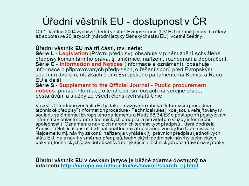 Úřední věstník EU - dostupnost v ČR Od 1. května 2004 vychází Úřední věstník Evropské unie (ÚV EU) denně (zpravidla úterý až sobota) ve 20 jazycích (n