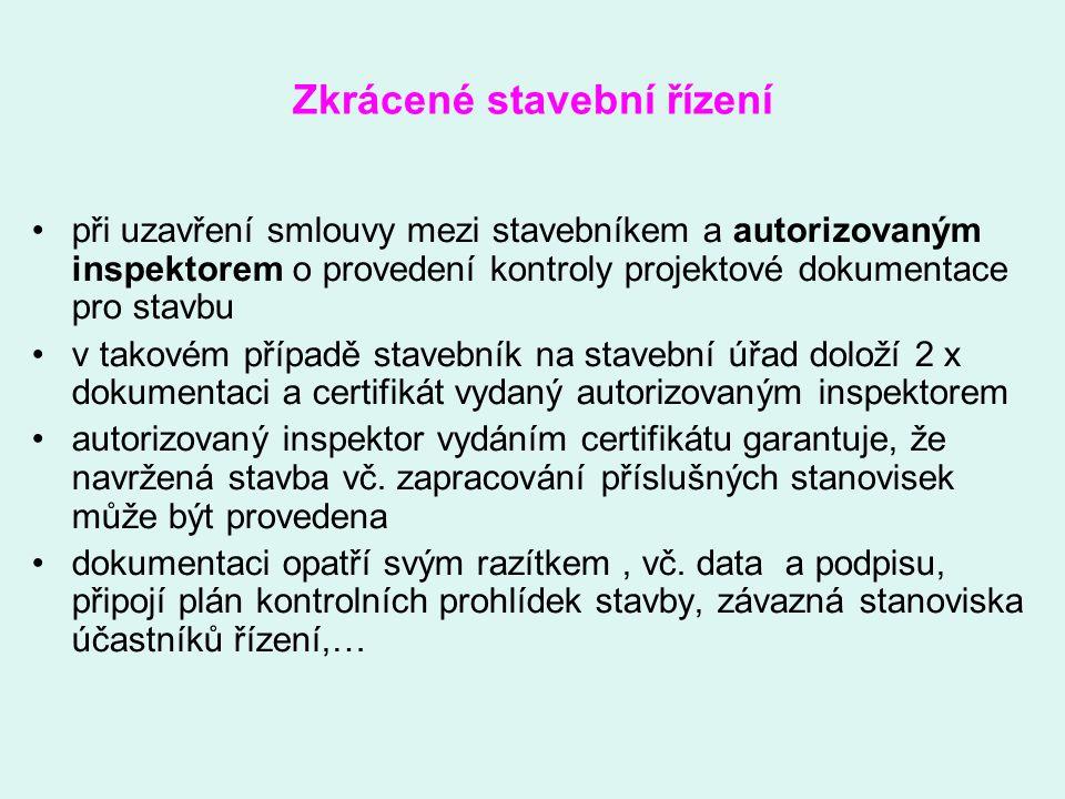 Zkrácené stavební řízení při uzavření smlouvy mezi stavebníkem a autorizovaným inspektorem o provedení kontroly projektové dokumentace pro stavbu v ta
