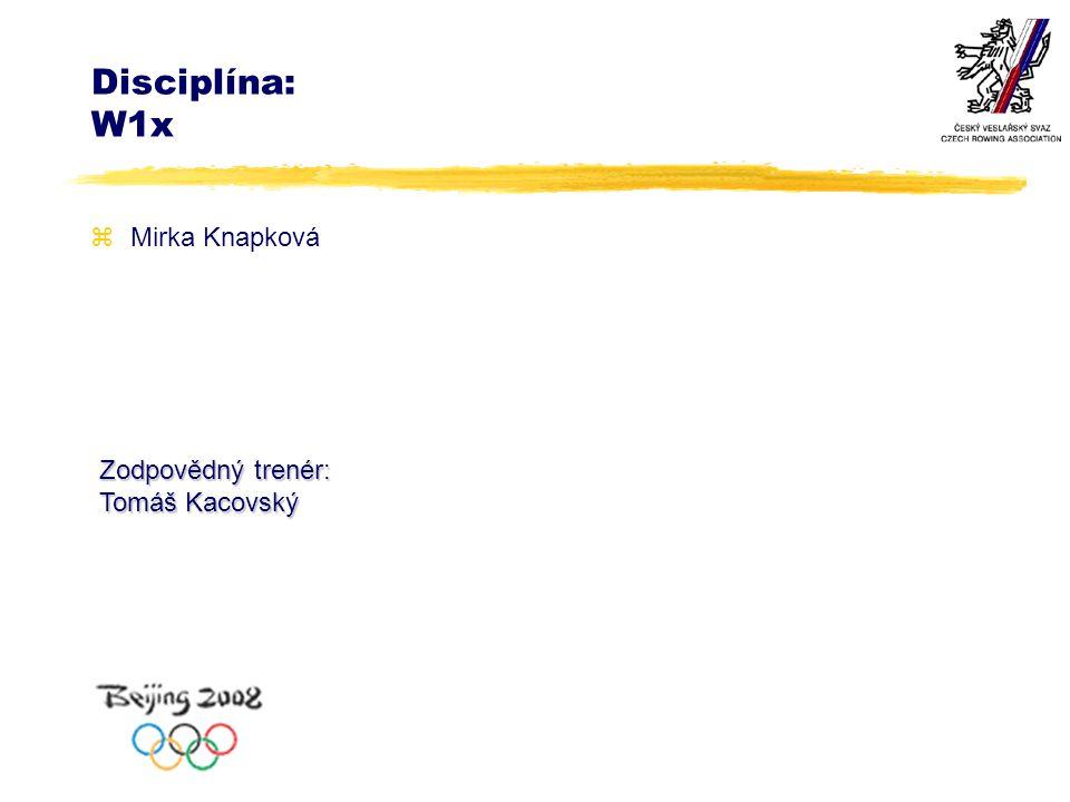 Disciplína: W1x zMirka Knapková Zodpovědný trenér: Tomáš Kacovský