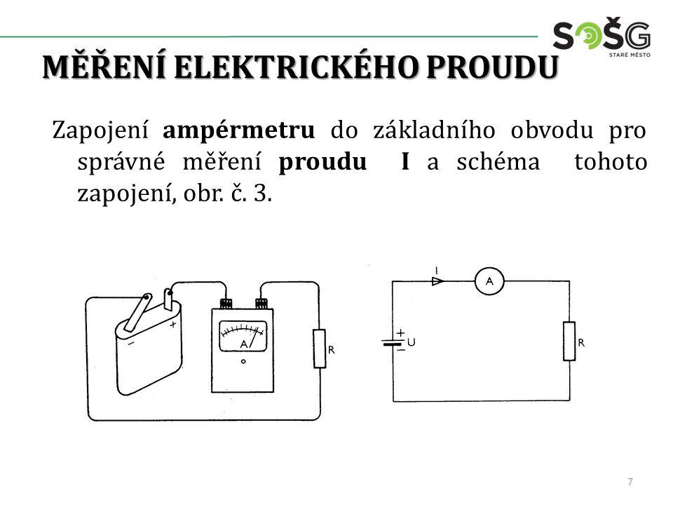 MĚŘENÍ ELEKTRICKÉHO PROUDU Zapojení ampérmetru do základního obvodu pro správné měření proudu I a schéma tohoto zapojení, obr.
