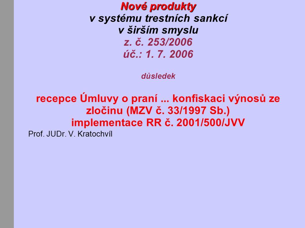 Nové produkty Nové produkty v systému trestních sankcí v širším smyslu z.