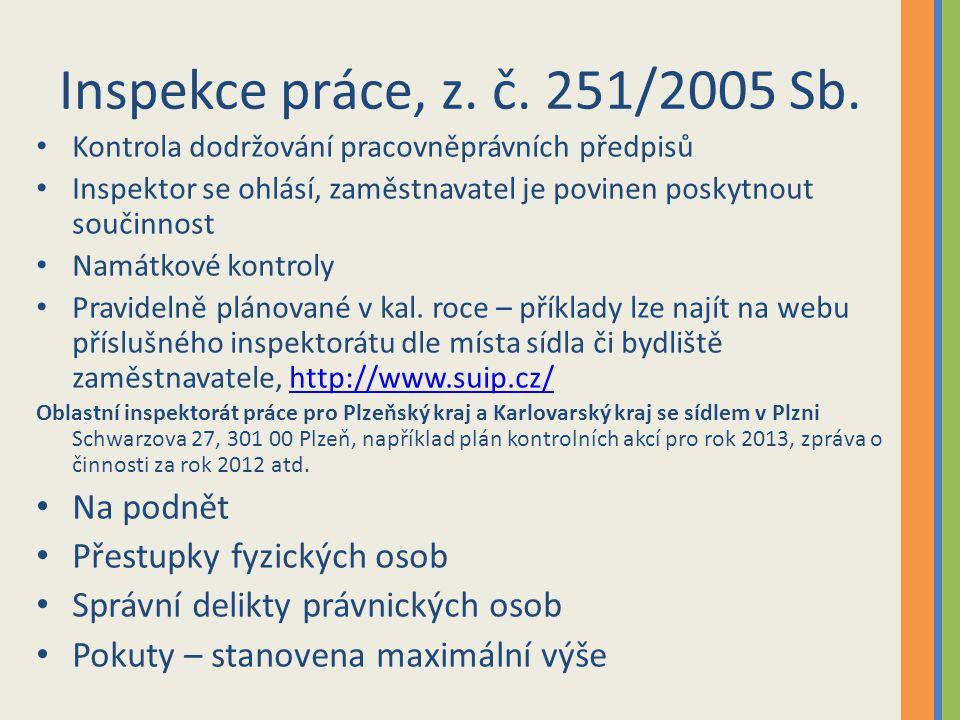 Inspekce práce, z. č. 251/2005 Sb. Kontrola dodržování pracovněprávních předpisů Inspektor se ohlásí, zaměstnavatel je povinen poskytnout součinnost N