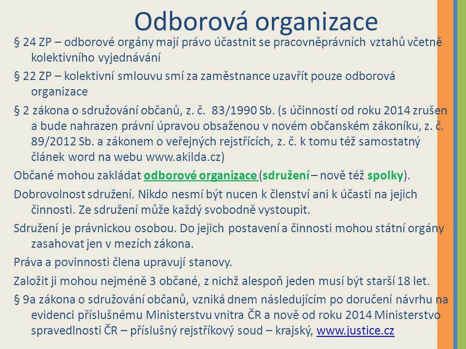 Odborová organizace § 24 ZP – odborové orgány mají právo účastnit se pracovněprávních vztahů včetně kolektivního vyjednávání § 22 ZP – kolektivní smlo