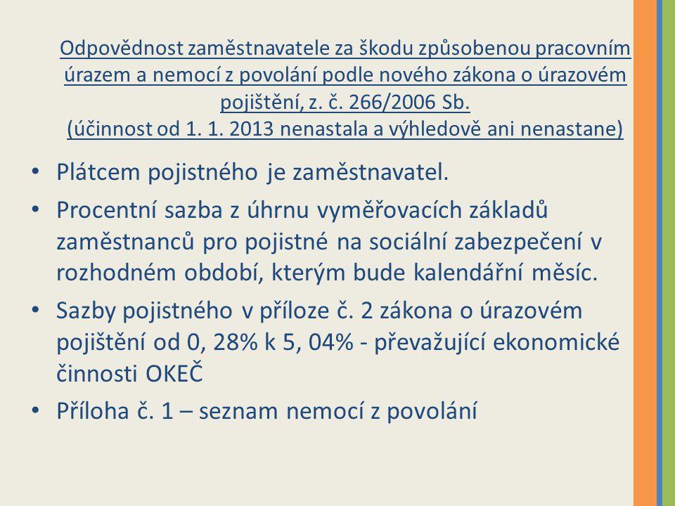 Odpovědnost zaměstnavatele za škodu způsobenou pracovním úrazem a nemocí z povolání podle nového zákona o úrazovém pojištění, z. č. 266/2006 Sb. (účin