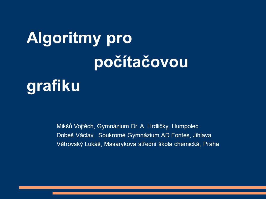 Algoritmy pro počítačovou grafiku Mikšů Vojtěch, Gymnázium Dr.