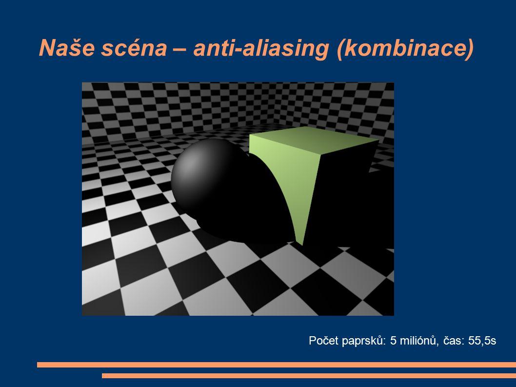 Naše scéna – anti-aliasing (kombinace) Počet paprsků: 5 miliónů, čas: 55,5s