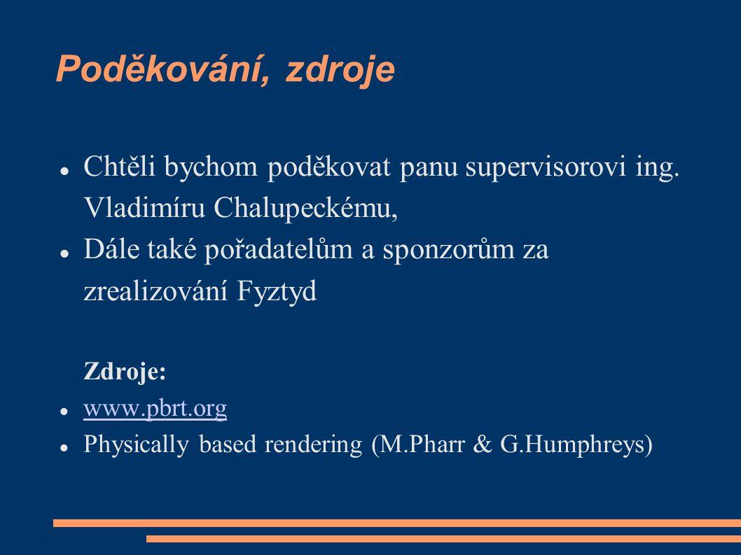 Poděkování, zdroje Chtěli bychom poděkovat panu supervisorovi ing. Vladimíru Chalupeckému, Dále také pořadatelům a sponzorům za zrealizování Fyztyd Zd