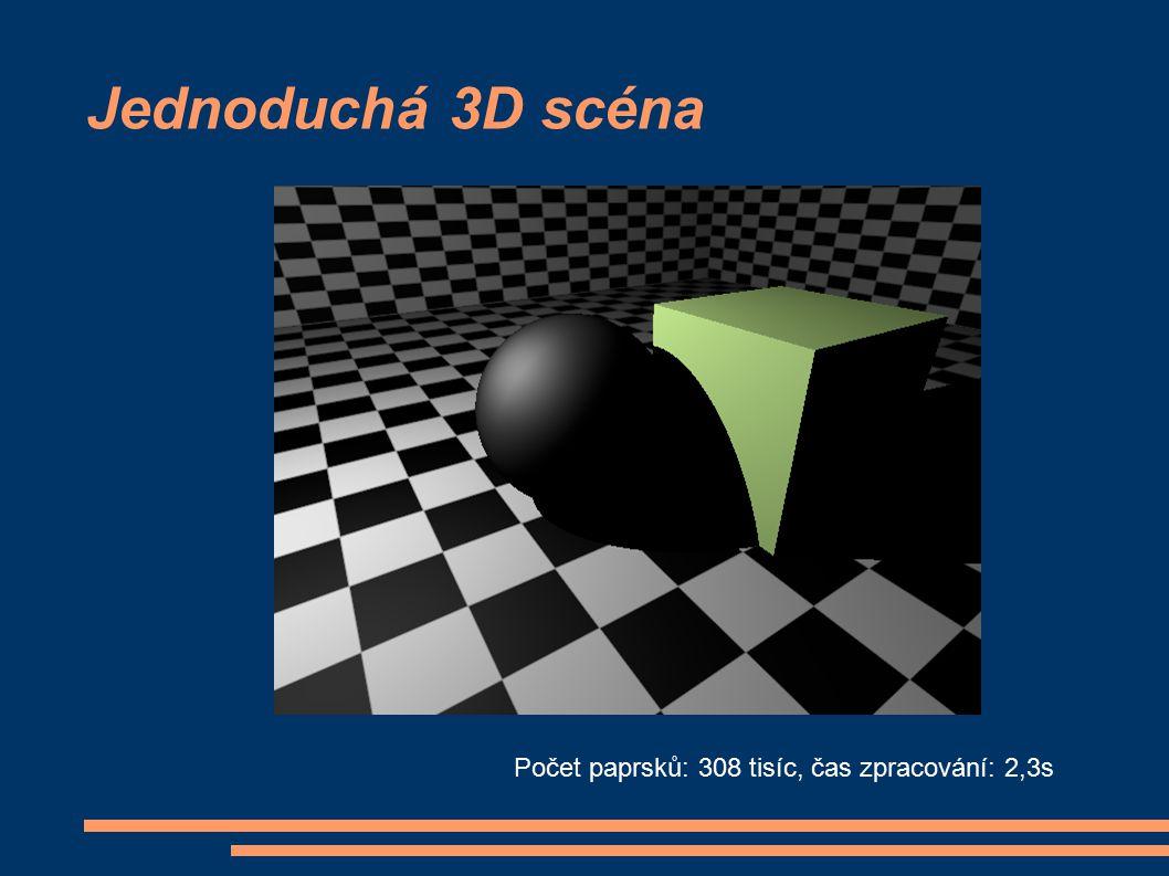 Jednoduchá 3D scéna Počet paprsků: 308 tisíc, čas zpracování: 2,3s