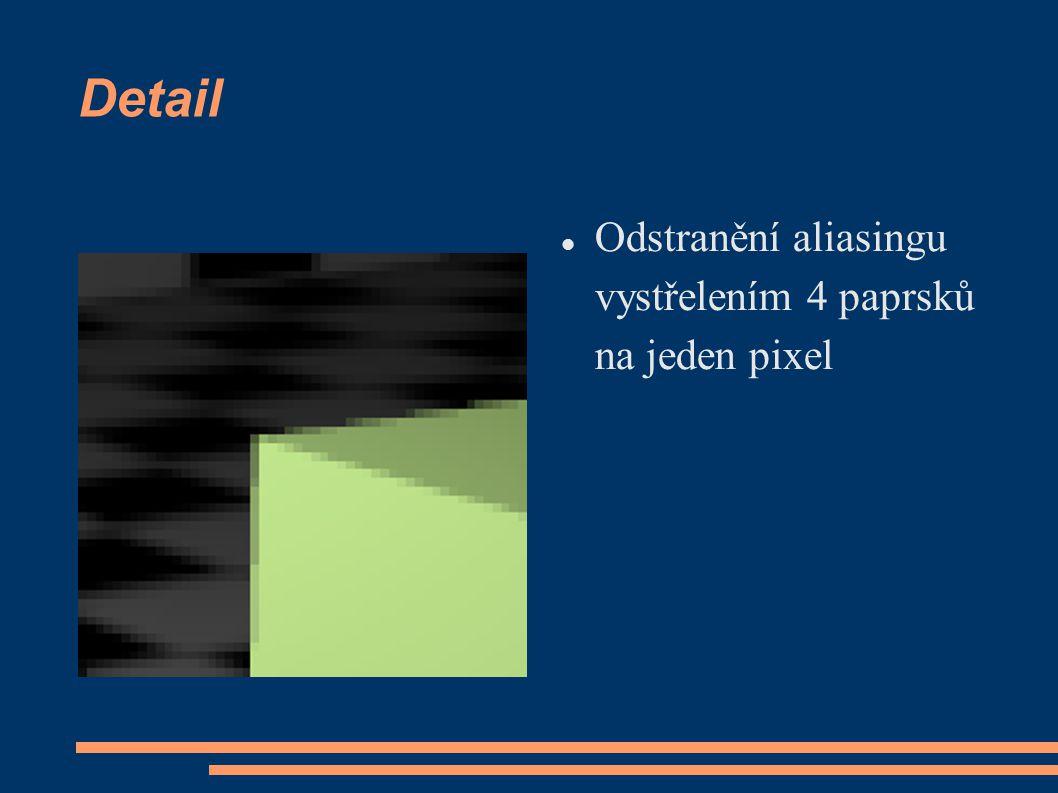 Detail Odstranění aliasingu vystřelením 4 paprsků na jeden pixel
