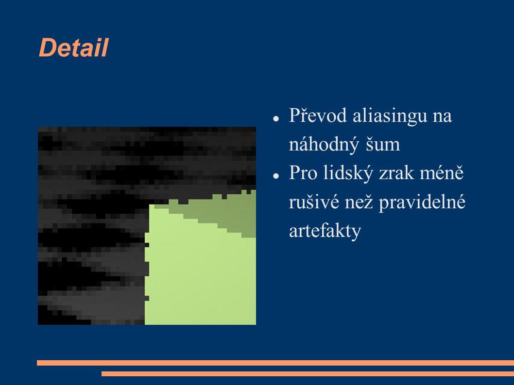 Detail Převod aliasingu na náhodný šum Pro lidský zrak méně rušivé než pravidelné artefakty