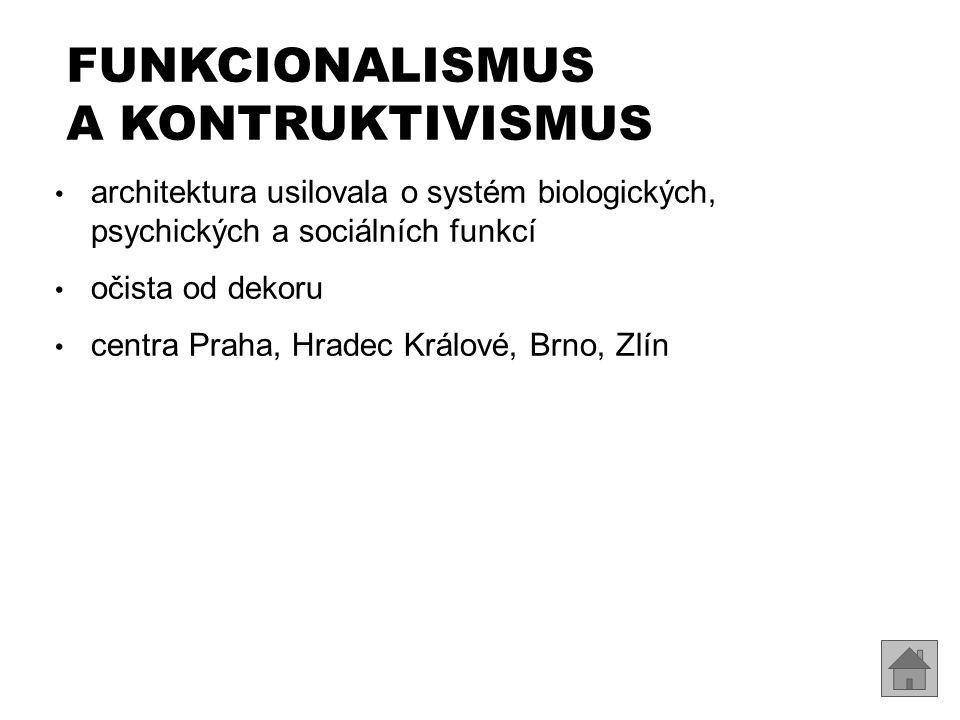 FUNKCIONALISMUS A KONTRUKTIVISMUS architektura usilovala o systém biologických, psychických a sociálních funkcí očista od dekoru centra Praha, Hradec