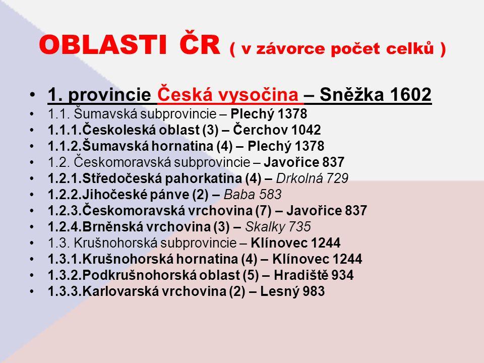 OBLASTI ČR ( v závorce počet celků ) 1. provincie Česká vysočina – Sněžka 1602 1.1. Šumavská subprovincie – Plechý 1378 1.1.1.Českoleská oblast (3) –