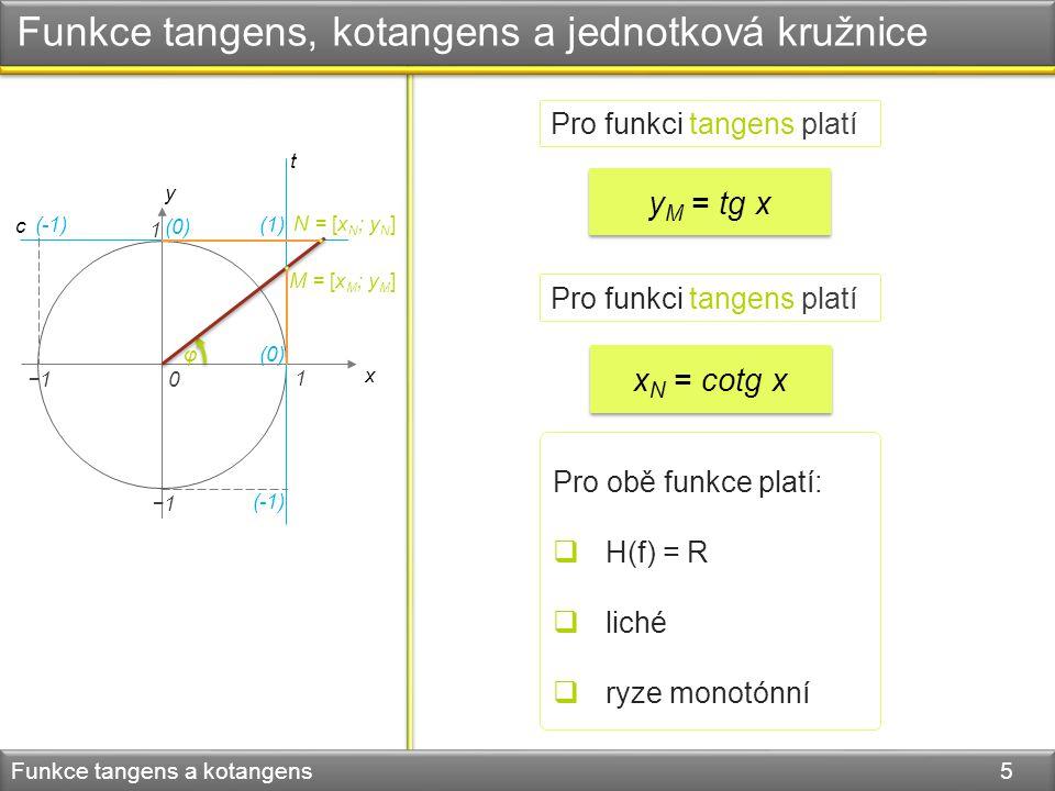 Funkce tangens, kotangens a jednotková kružnice Funkce tangens a kotangens 5 Pro funkci tangens platí y M = tg x x N = cotg x Pro funkci tangens platí