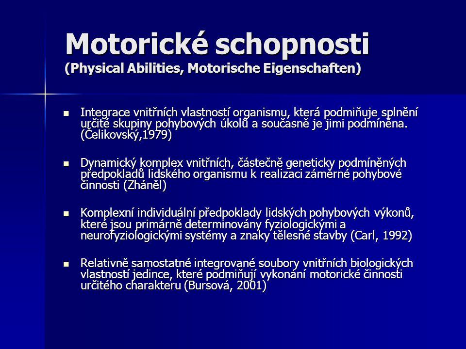 Motorické schopnosti (Physical Abilities, Motorische Eigenschaften) Integrace vnitřních vlastností organismu, která podmiňuje splnění určité skupiny p