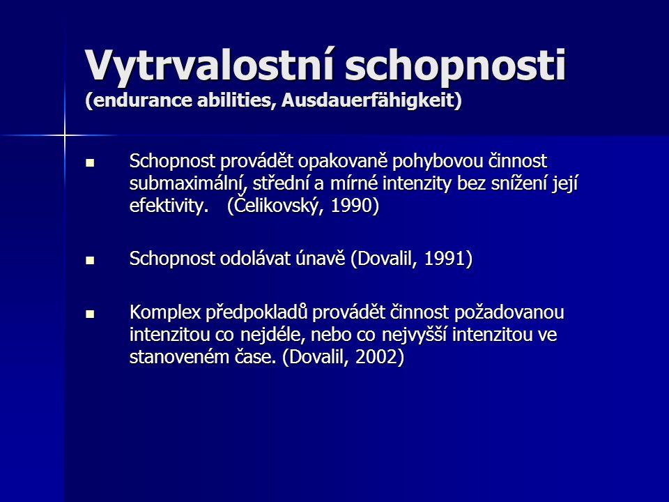 Vytrvalostní schopnosti (endurance abilities, Ausdauerfähigkeit) Schopnost provádět opakovaně pohybovou činnost submaximální, střední a mírné intenzit