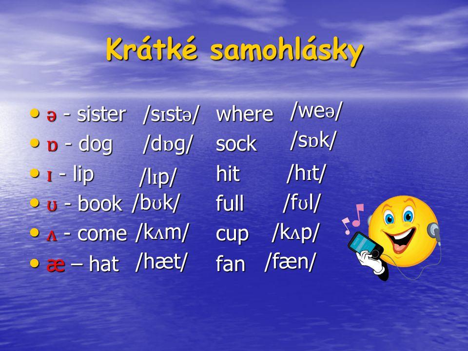 Krátké samohlásky ǝ - sister where ǝ - sister where ɒ - dogsock ɒ - dogsock ɪ - lip hit ɪ - lip hit ʊ - book full ʊ - book full ʌ - comecup ʌ - comecup æ – hatfan æ – hatfan /s ɪ st ǝ / /we ǝ / /d ɒ g/ /s ɒ k/ /h ɪ t/ /l ɪ p/ /b ʊ k/ /f ʊ l/ /k ʌ m/ /k ʌ p/ /fæn//hæt/