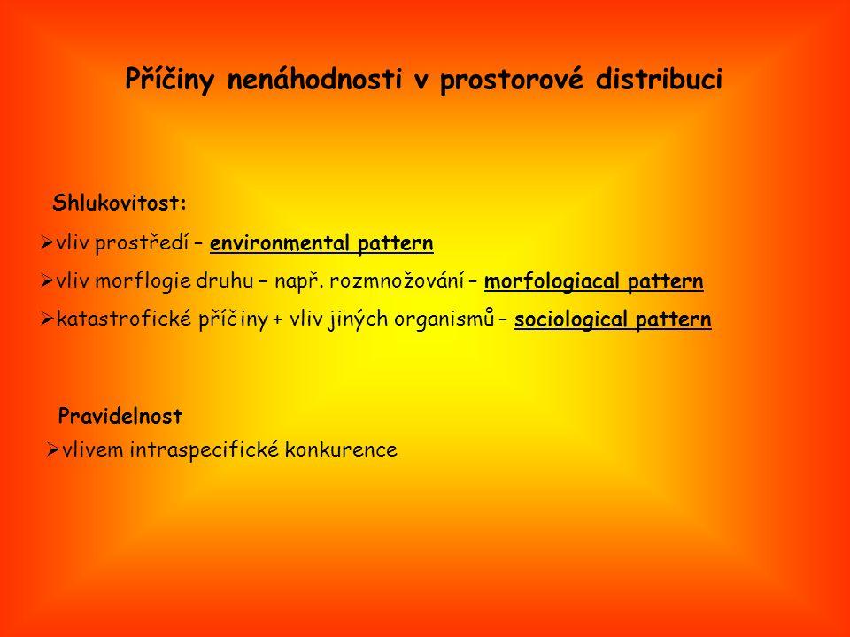 Příčiny nenáhodnosti v prostorové distribuci  vliv prostředí – environmental pattern  vliv morflogie druhu – např.