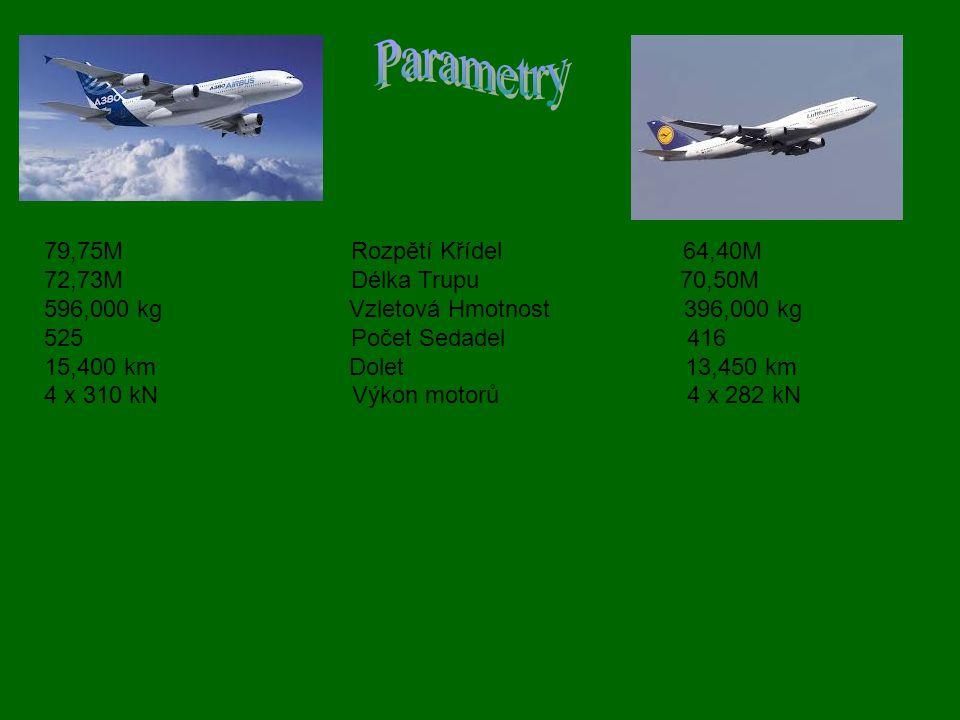 79,75M Rozpětí Křídel 64,40M 72,73M Délka Trupu 70,50M 596,000 kg Vzletová Hmotnost 396,000 kg 525 Počet Sedadel 416 15,400 km Dolet 13,450 km 4 x 310 kN Výkon motorů 4 x 282 kN