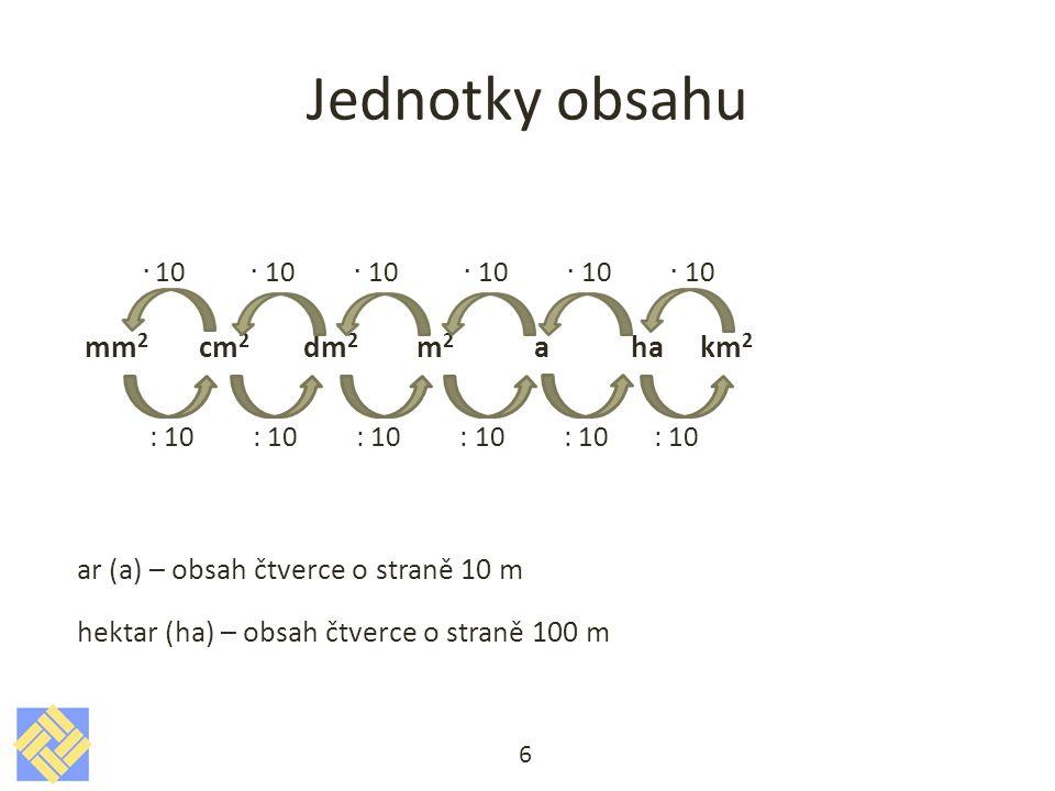 Převeďte jednotky 1,6 ha = m 2 150 a =km 2 17,1 m 2 = mm 2 3,5 cm 2 = mm 2 168 000 m 2 =km 2 5 dm 2 =a 180 mm 2 =cm 2 1,3 km 2 = m 2 2 ha = dm 2 3 dm 2 =m 2 7