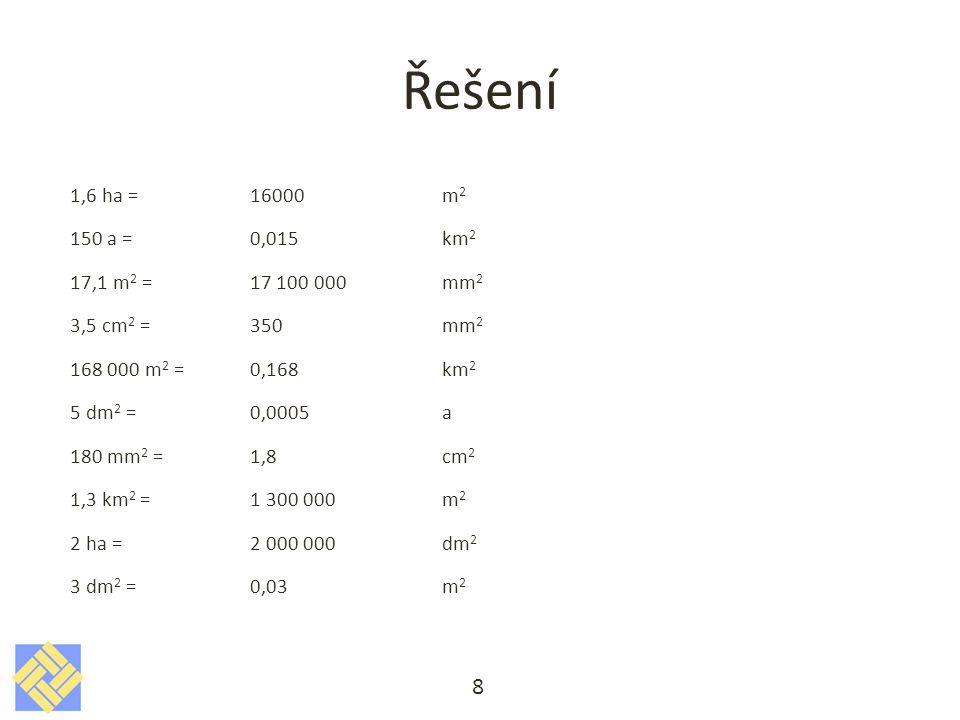 Řešení 1,6 ha = 16000 m 2 150 a =0,015km 2 17,1 m 2 = 17 100 000mm 2 3,5 cm 2 = 350mm 2 168 000 m 2 =0,168km 2 5 dm 2 =0,0005a 180 mm 2 =1,8cm 2 1,3 k