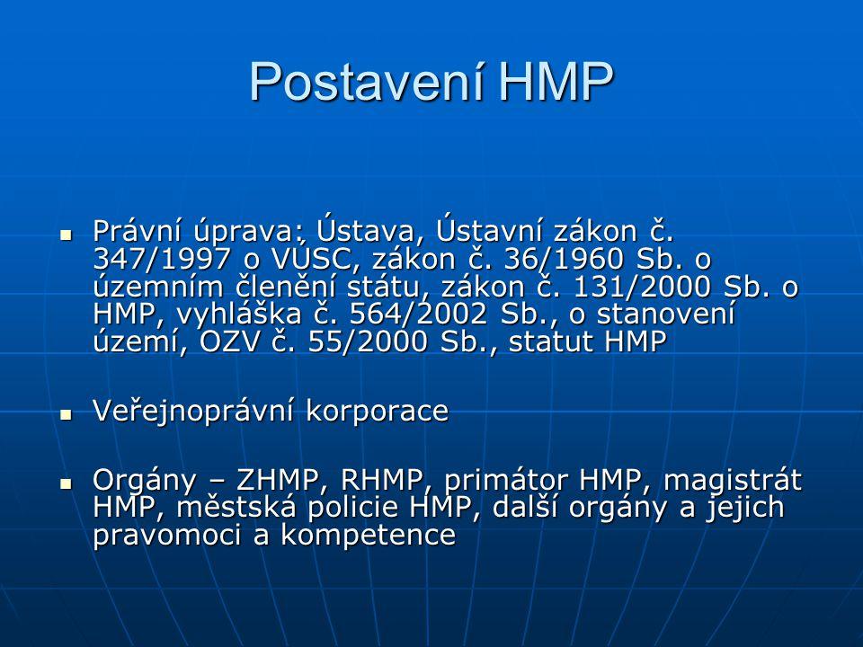 Členění HMP 22 městských správních obvodů 22 městských správních obvodů 57 městských částí 57 městských částí 112 katastrálních území 112 katastrálních území Postavení MČ Postavení MČ Statut Statut