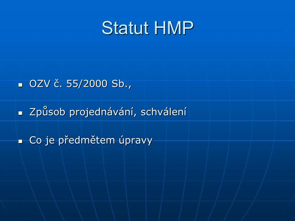 Statut HMP OZV č. 55/2000 Sb., OZV č. 55/2000 Sb., Způsob projednávání, schválení Způsob projednávání, schválení Co je předmětem úpravy Co je předměte