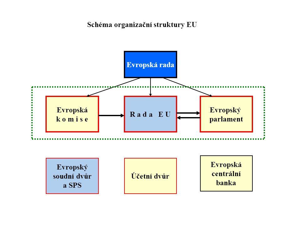 R a d a E U Evropská k o m i s e Evropský parlament Evropský soudní dvůr a SPS Účetní dvůr Evropská centrální banka Evropská rada Schéma organizační struktury EU