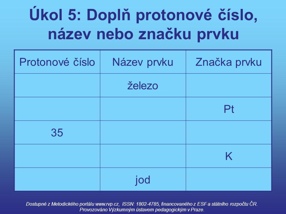 Úkol 5: Doplň protonové číslo, název nebo značku prvku Protonové čísloNázev prvkuZnačka prvku železo Pt 35 K jod Dostupné z Metodického portálu www.rv