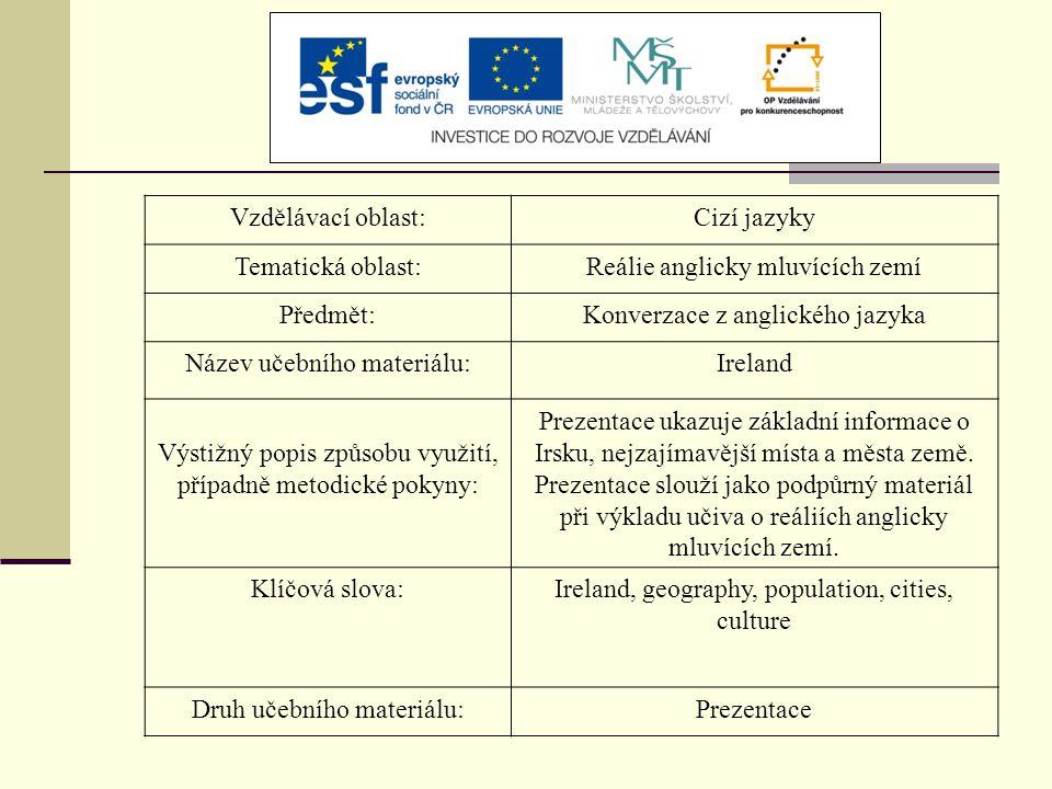 Vzdělávací oblast:Cizí jazyky Tematická oblast:Reálie anglicky mluvících zemí Předmět:Konverzace z anglického jazyka Název učebního materiálu:Ireland